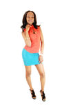 Black girl in turquoise skirt. Royalty Free Stock Photo