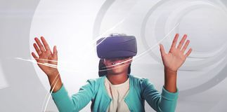Black girl with virtual reality glasses stock photo