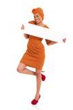 Black girl white board Royalty Free Stock Image