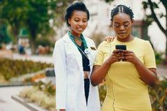 Black girls with stethoscope stock photos