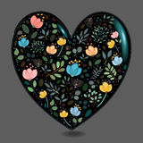 Black Glared Heart with Watercolor Flowers Stock Photo