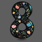 Black Glared Number Eight with Watercolor Flowers. Number Eight with Floral Decor. Black glared numeral. Colorful graceful flowers, plants and blurs with Royalty Free Stock Photos