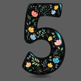 Black Glared Number Five with Watercolor Flowers Royalty Free Stock Images