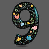 Black Glared Number Nine with Watercolor Flowers royalty free stock image