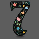 Black Glared Number Seven with Watercolor Flowers royalty free stock photography