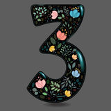 Black Glared Number Three with Watercolor Flowers stock images