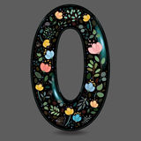 Black Glared Number Zero with Watercolor Flowers Stock Photography