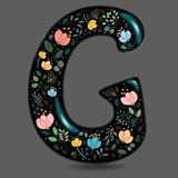 Black Glared Symbol G with Watercolor Flowers Royalty Free Stock Photography