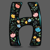 Black Glared Symbol H with Watercolor Flowers Stock Photos