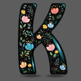 Black Glared Symbol K with Watercolor Flowers Royalty Free Stock Photos
