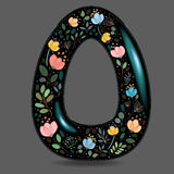 Black Glared Symbol O with Watercolor Flowers Stock Image