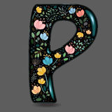 Black Glared Symbol P with Watercolor Flowers Royalty Free Stock Photography