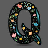 Black Glared Symbol Q with Watercolor Flowers Royalty Free Stock Image