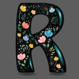 Black Glared Symbol R with Watercolor Flowers Royalty Free Stock Images