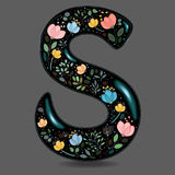 Black Glared Symbol S with Watercolor Flowers Stock Images
