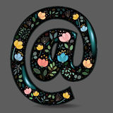 Black Glared Symbol At with Watercolor Flowers Stock Photos