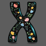 Black Glared Symbol X with Watercolor Flowers royalty free stock photography