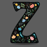 Black Glared Symbol Z with Watercolor Flowers royalty free stock images