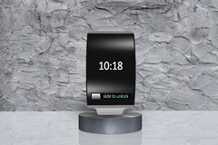 Black glass bent interface smartwatch on showcase with metal wat Stock Photos