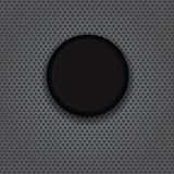 Glass button on carbon. Black glass button isolated on a carbon background stock illustration