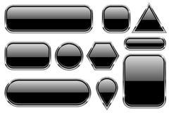 Black glass buttons with chrome frame. Geometric shaped 3d icons set. Vector ilustration isolated on white background Stock Image