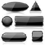 Black glass buttons with chrome frame. Geometric shaped 3d icons set. Vector ilustration isolated on white background Royalty Free Stock Photography