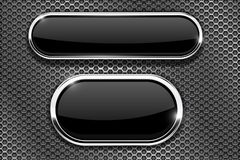 Black glass buttons with chrome frame. On metal perforated texture. Vector 3d illustration stock illustration