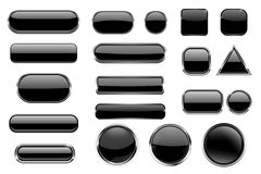 Black glass buttons. Collection of 3d icons with and without chrome frame. Vector illustration isolated on white background stock illustration
