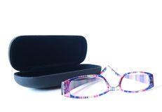 Black glass case with glasses Royalty Free Stock Images