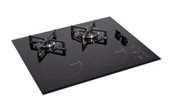 Black glass electric-gas hob. Isolated on white with clipping path stock photos