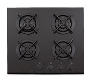Black glass gas hob. Isolated on white royalty free stock image