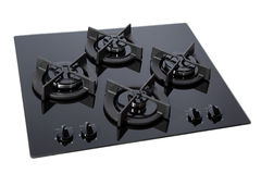 Black glass gas hob. Isolated on white with clipping path royalty free stock photo