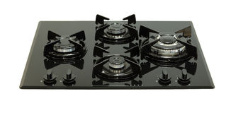 Black glass gas hob Royalty Free Stock Images