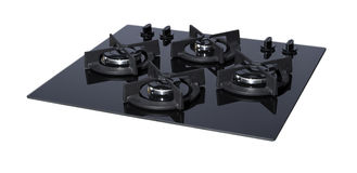 Black glass gas hob Stock Images