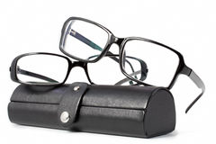 Black glasses with case Royalty Free Stock Images