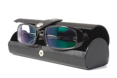 Black glasses with case Royalty Free Stock Image