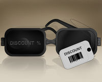 Black glasses and with discount barcode discount on wall illustration Stock Photos