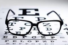 Black glasses on eye chart Stock Image