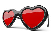 Black glasses in a form heart. Happiness and love concept. Royalty Free Stock Image