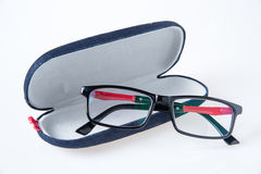 Black glasses and glasses case Royalty Free Stock Images