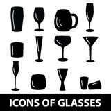 Black glasses icons set eps10 Royalty Free Stock Photos