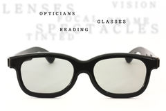 Black glasses isolated with sample text Stock Images