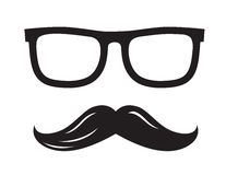 Black glasses and mustaches. Vector black glasses and mustaches icon on white background Stock Photography