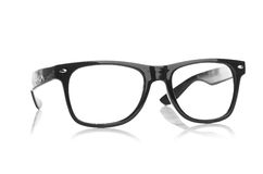 Black glasses on a white background Royalty Free Stock Photos