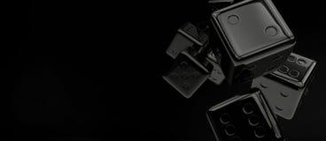 Black Glassy Craps Dices Royalty Free Stock Photos
