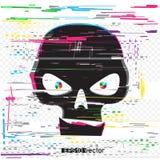 Black glitch hacker skull Stock Photos