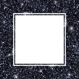 Black glitter background, square frame. Vector. Illustration Royalty Free Stock Photography