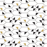 Black and glitter gold triangles mesh seamless vector pattern. Monochrome geometric abstract repeat background Stock Images