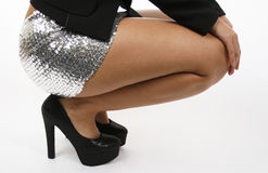 Black Glitter Platform Shoes on Sexy Legs Royalty Free Stock Photo