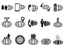 Black global business icons set Stock Photos